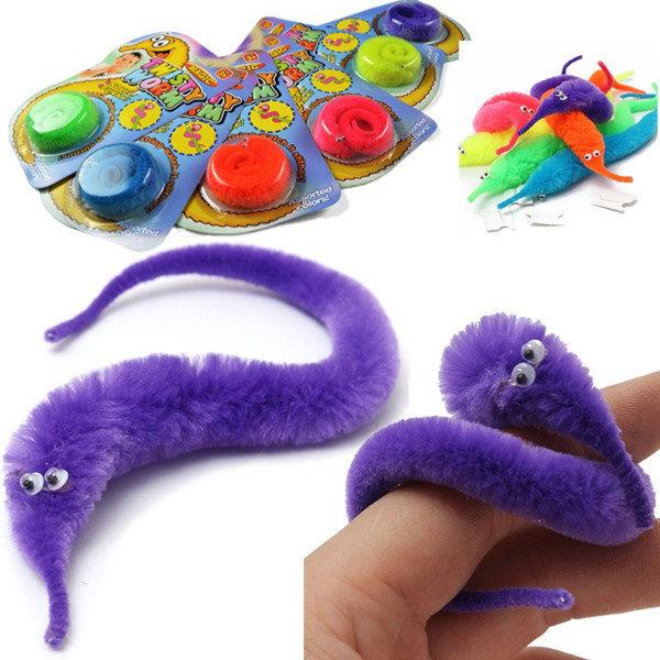 Lot of 10 Pcs Magic Twisty Fuzzy Worm Wiggle Moving Kids Trick Toy Caterpillar