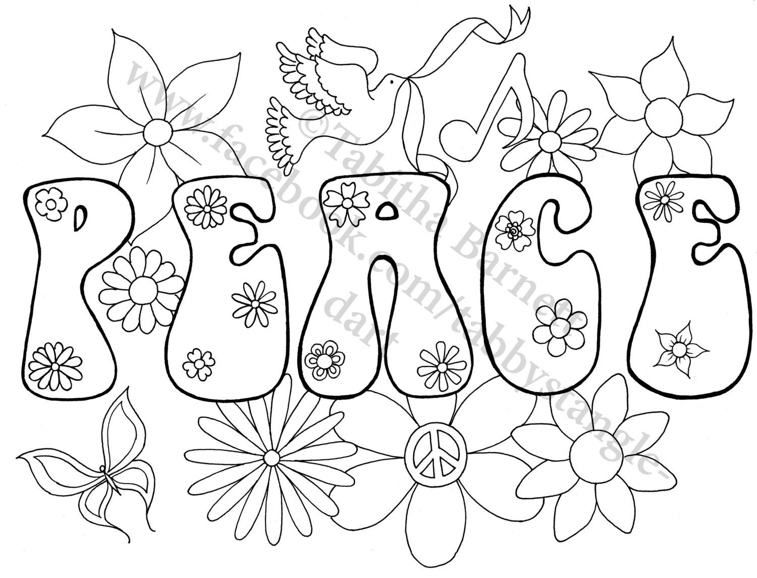 Peace On Earth Adult Coloring Page By Tabbystangledart On Etsy