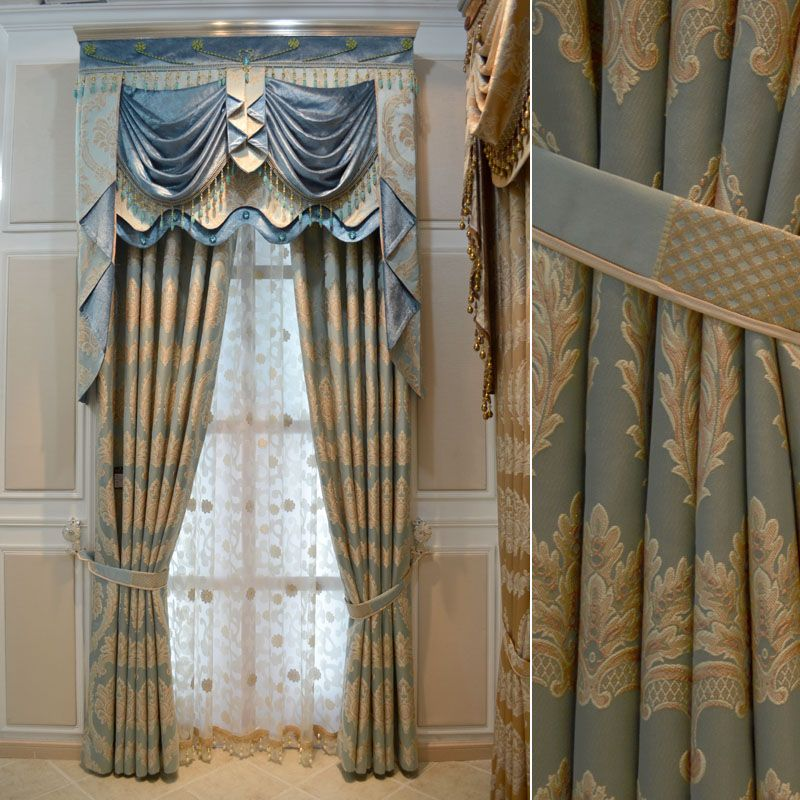 Blue White Gold Drapes House Hotel Curtains For Living Room Gold Thickening Luxury Blue
