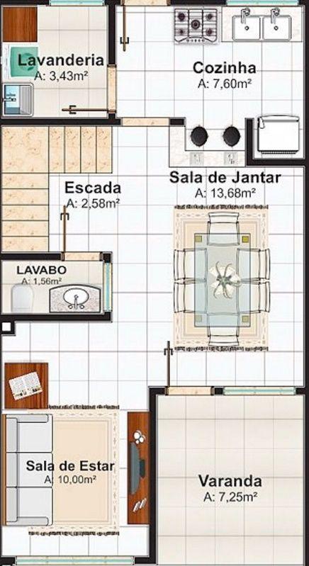 Plano de casa de 106 metros cuadrados con dos pisos for Diseno de casa de 90 metros cuadrados