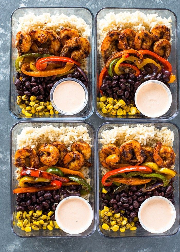 30-Minute Meal Prep: Loaded Shrimp Burrito Bowls #weeklymealprep