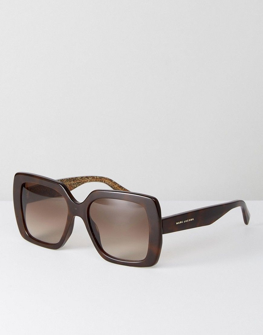 e51adaf8bd9 MARC JACOBS MARC JAOCBS 230 S OVERSIZED SQUARE SUNGLASSES IN TORT - BLACK.   marcjacobs