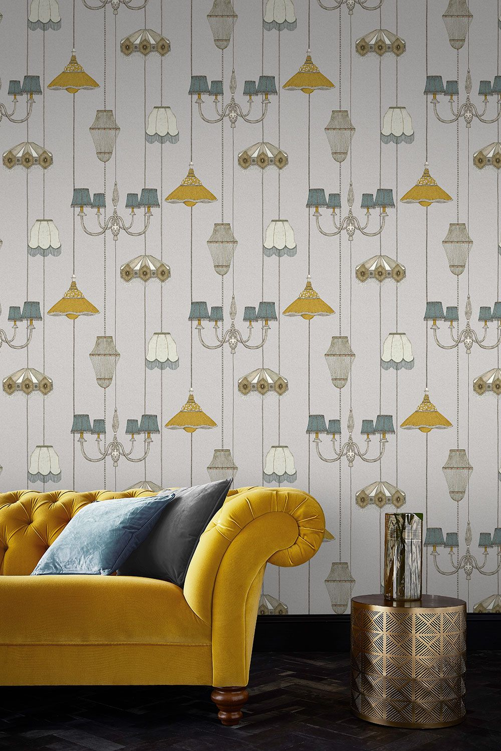 Drawing Room Grey Wallpaper In 2020 Yellow Decor Living