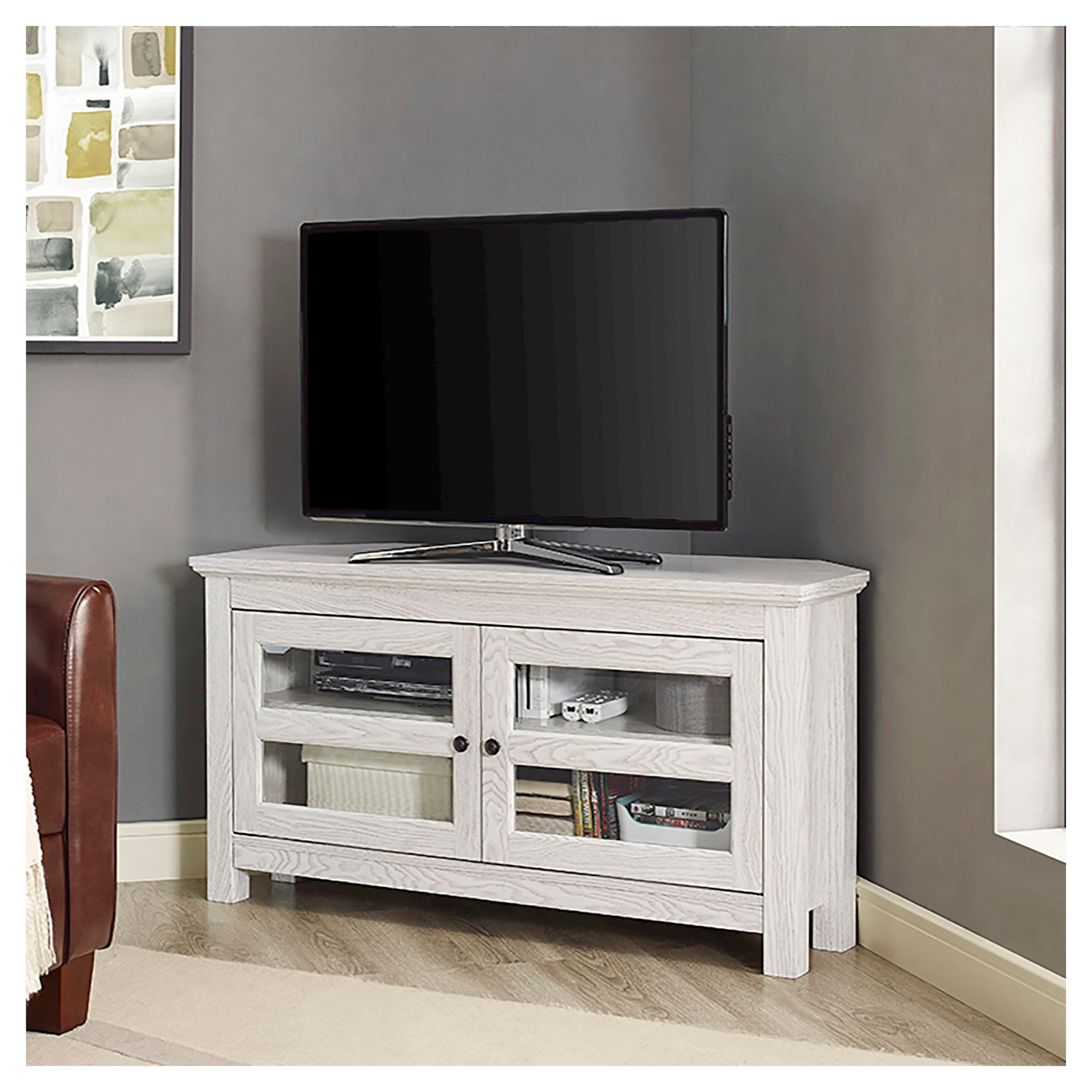 wood corner tv media stand storage console white saracina