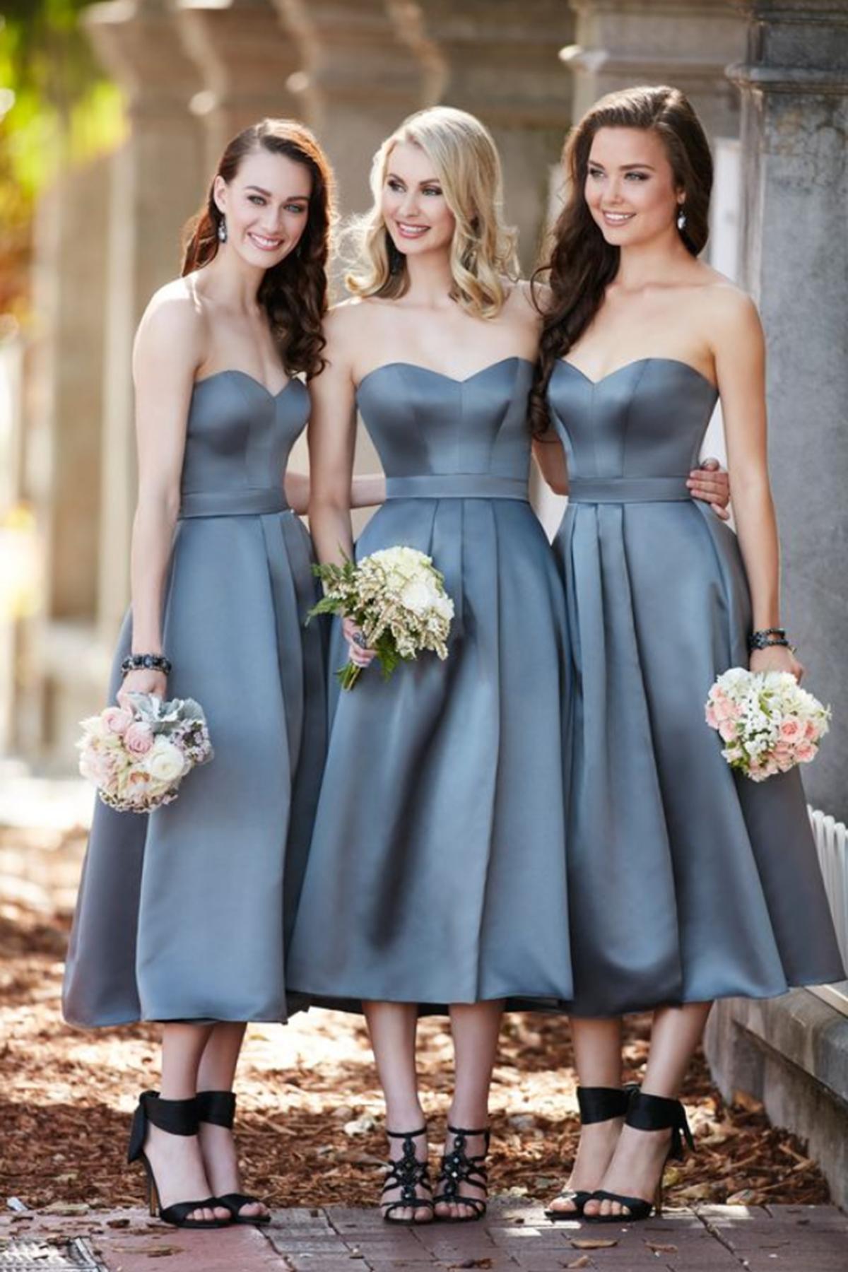 Sweetheart gray tea-length cheap bridesmaid dresses from