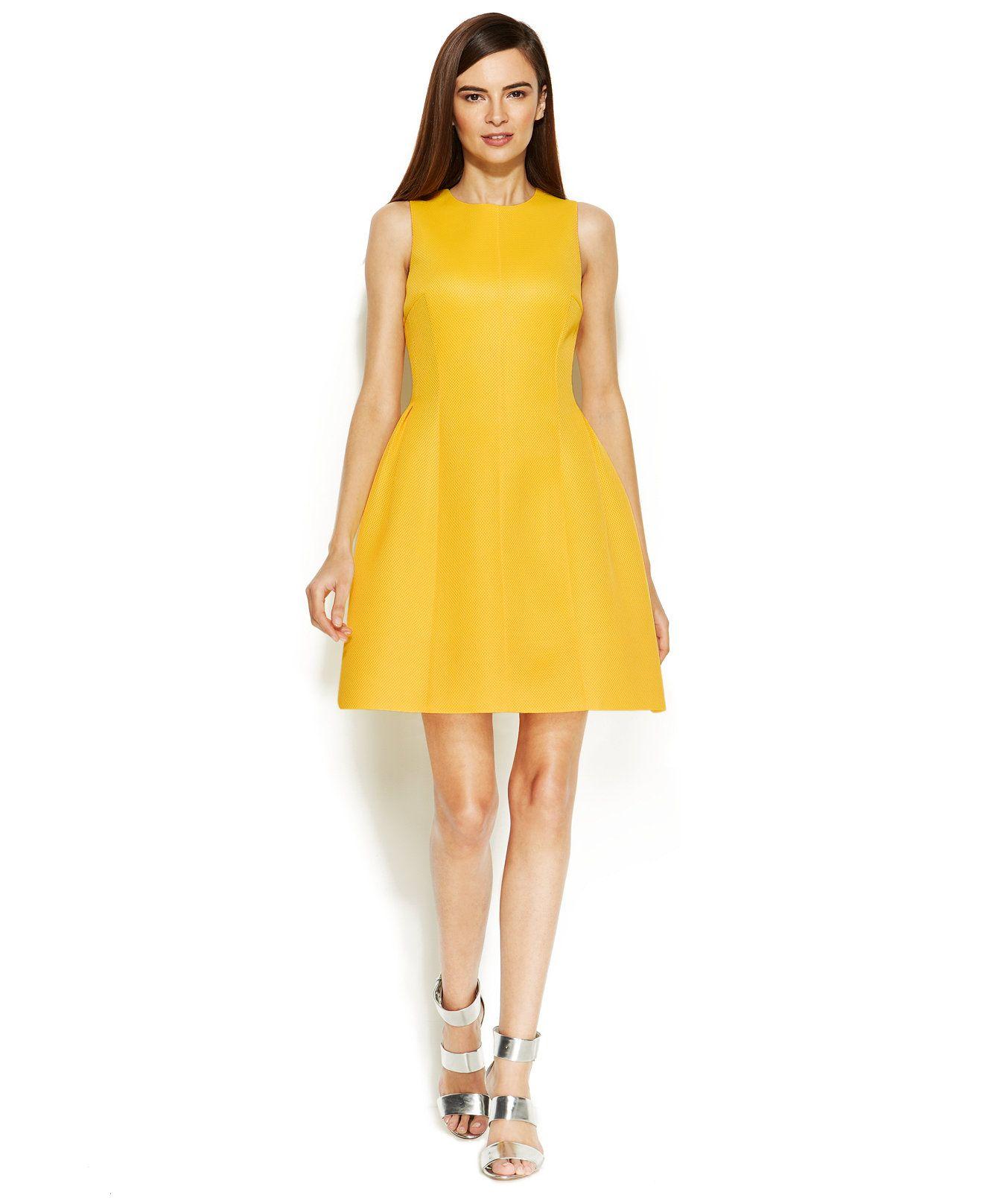 Calvin Klein Sleeveless Textured Scuba Dress Fit Amp Flare