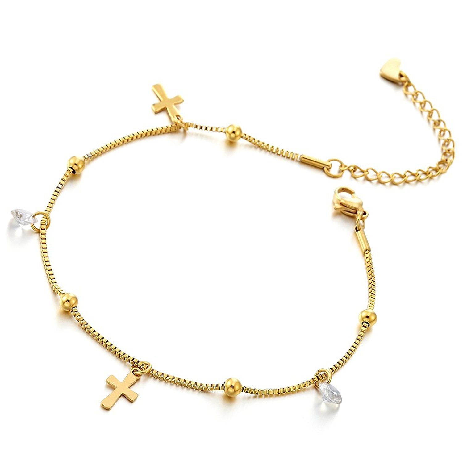 best cubic yellow heart anklet gold plated pin jewelry zirconia w