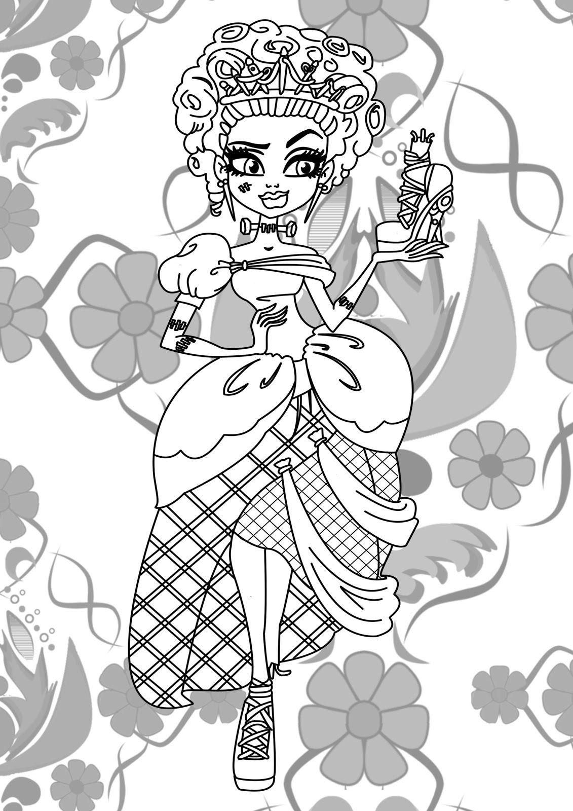Frankie Stein Monster High Coloring Page Coloring Pages