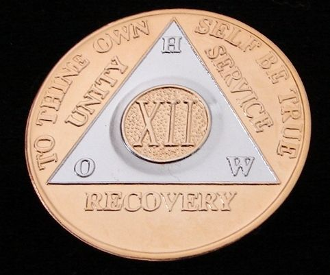 Pink /& Silver Plated 19 Year AA Chip Alcoholics Anonymous Medallion Coin
