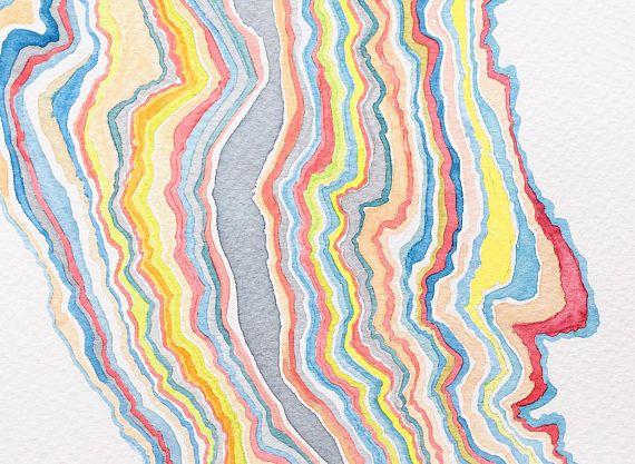 Cuadro Abstracto Original Dibujo De Lineas En Acuarela Arte Watercolor Blanket Crochet Blanket