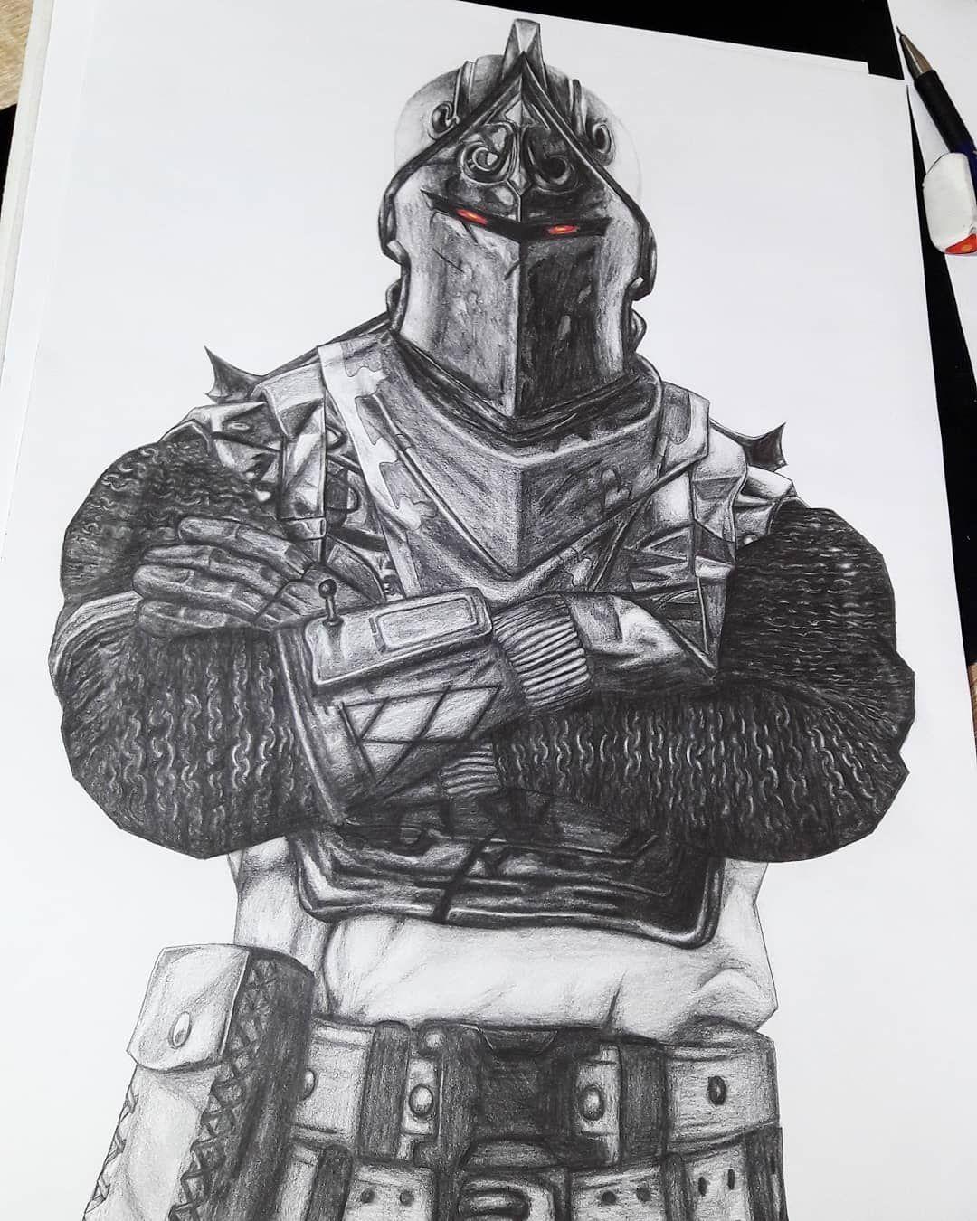 Fortnite Drawings: I Drawed The BLACK KNIGHT From Fortnite Hope You Guys Like
