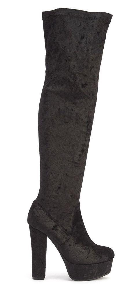 Block Heel Party Knee High Boots Size