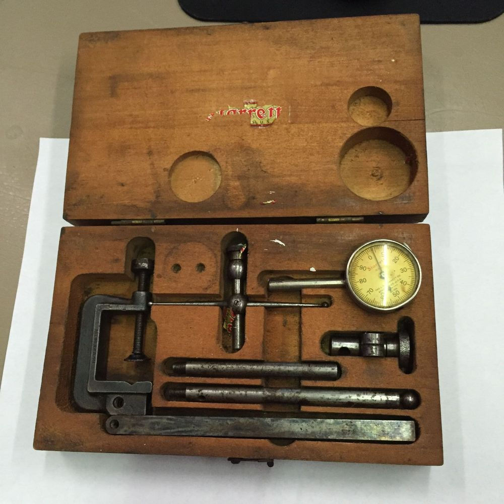 small resolution of starrett no 196 machinist millwright universal dial test indicator wooden case