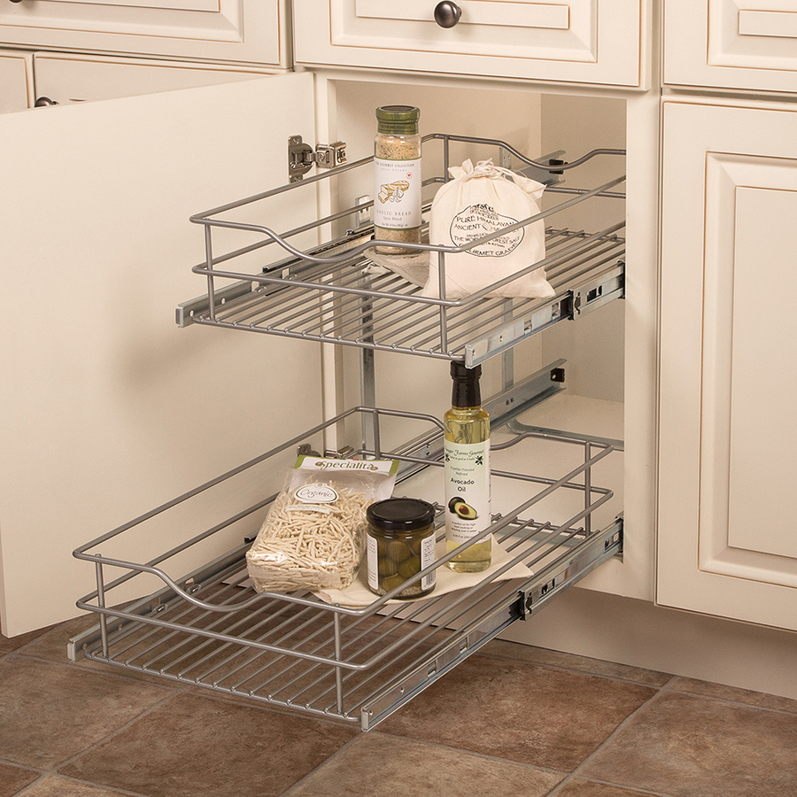 Knape Vogt 14 56 In W X 19 25 In H 2 Tier Pull Out Metal Cabinet Organizer Lowes Com Cabinets Organization Cabinet Organization Metal Cabinet
