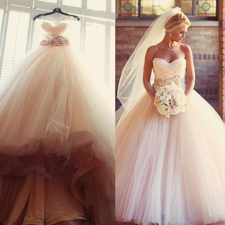 Charming blush pink wedding dresses 2016 tulle beaded sash for Cheap blush wedding dresses
