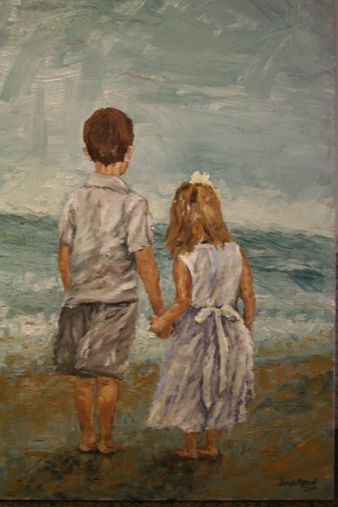 Brother And Sister Oil On Canvas Janine Medlin Fine Art Sisters Drawing Sisters Art Brother And Sister Love