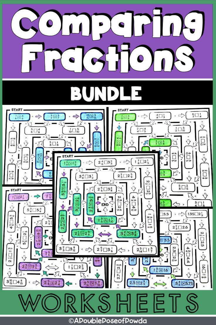Comparing Fractions, Mixed Numbers and Decimals Worksheet