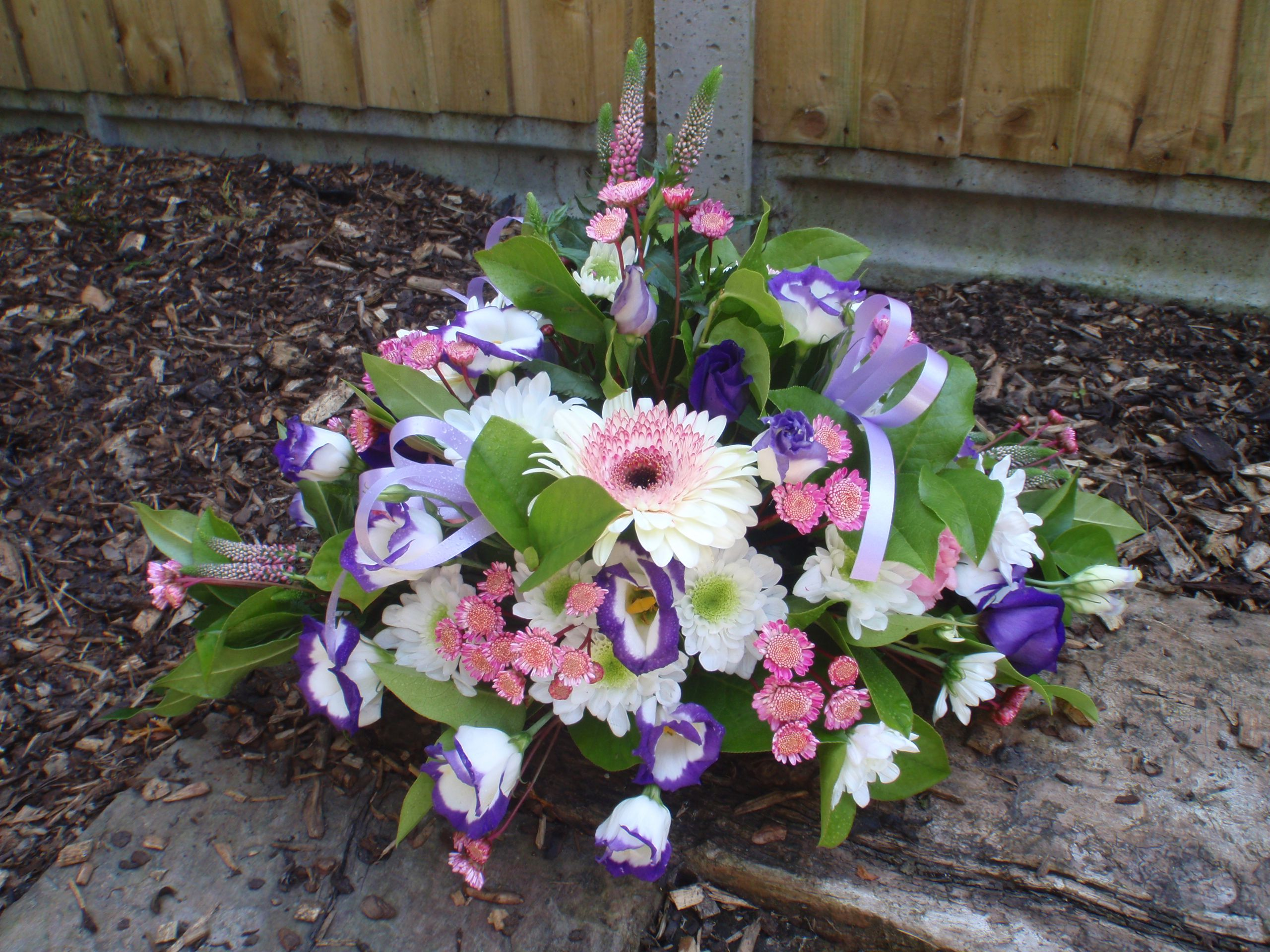 Purple and pink posy perfect for a small funeral tribute floral purple and pink posy perfect for a small funeral tribute izmirmasajfo Gallery