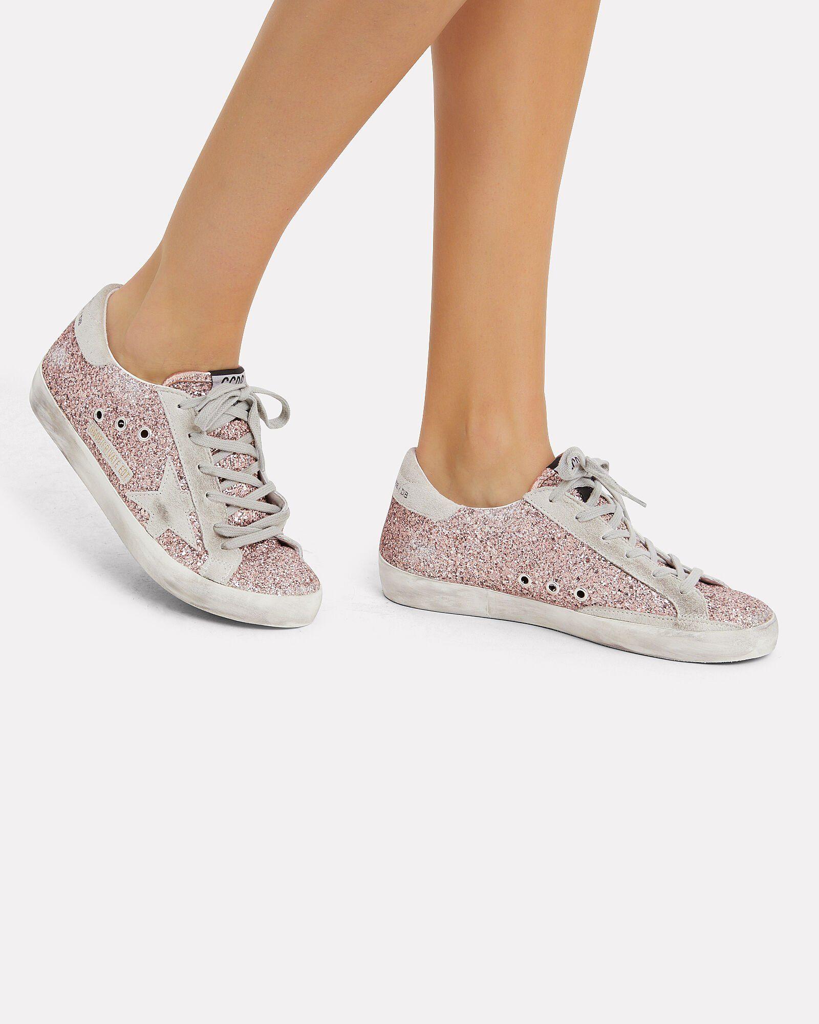 Superstar Rose Gold Glitter Sneakers in