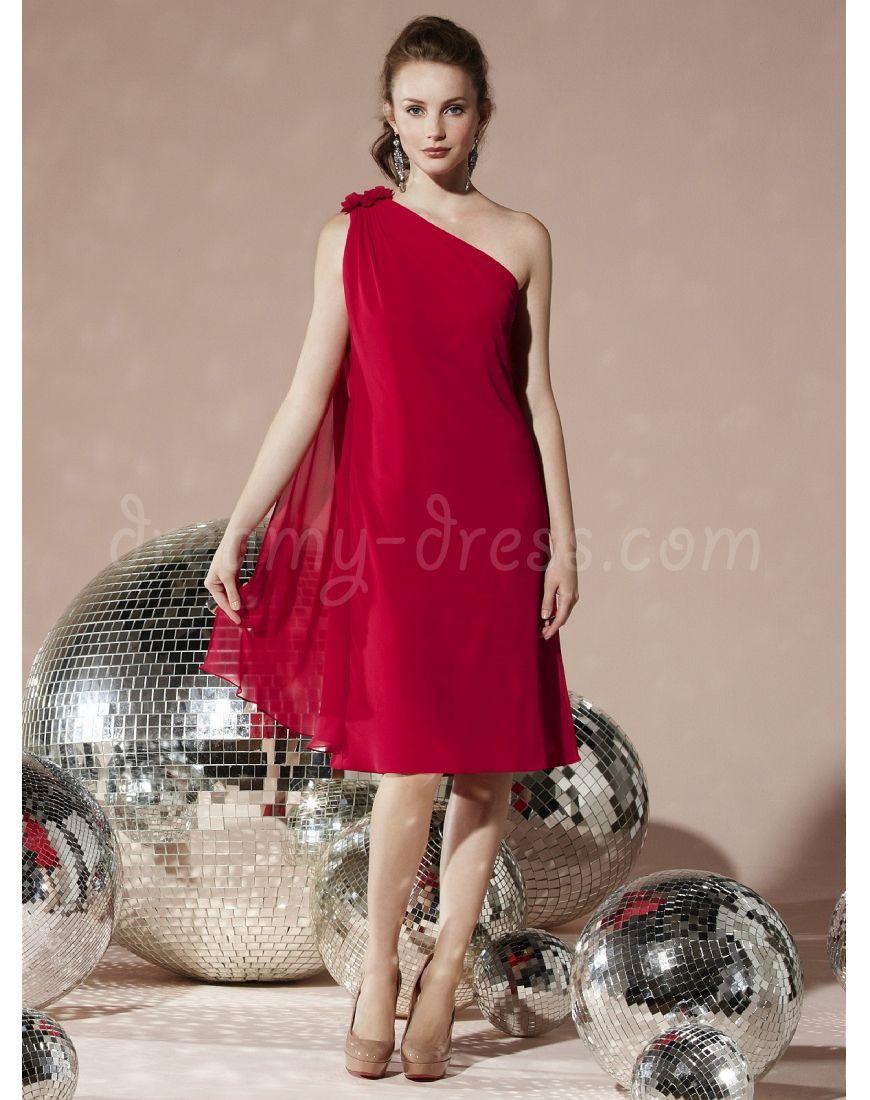 Simple chiffon one shoulder applique kneelength bridesmaidprom