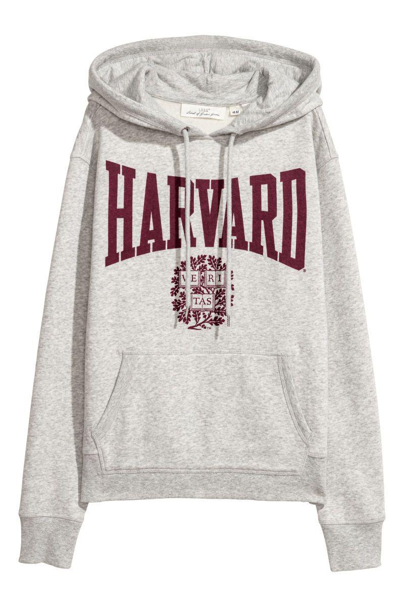 0e2197d4b0ed Printed Hooded Sweatshirt   Light gray/Harvard   WOMEN   H&M US ...