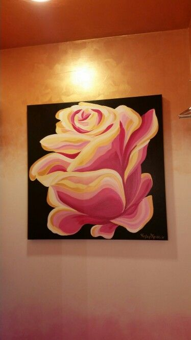 Magenta and gold rose canvas by Lezley Lynch Designs, Edmond, OK