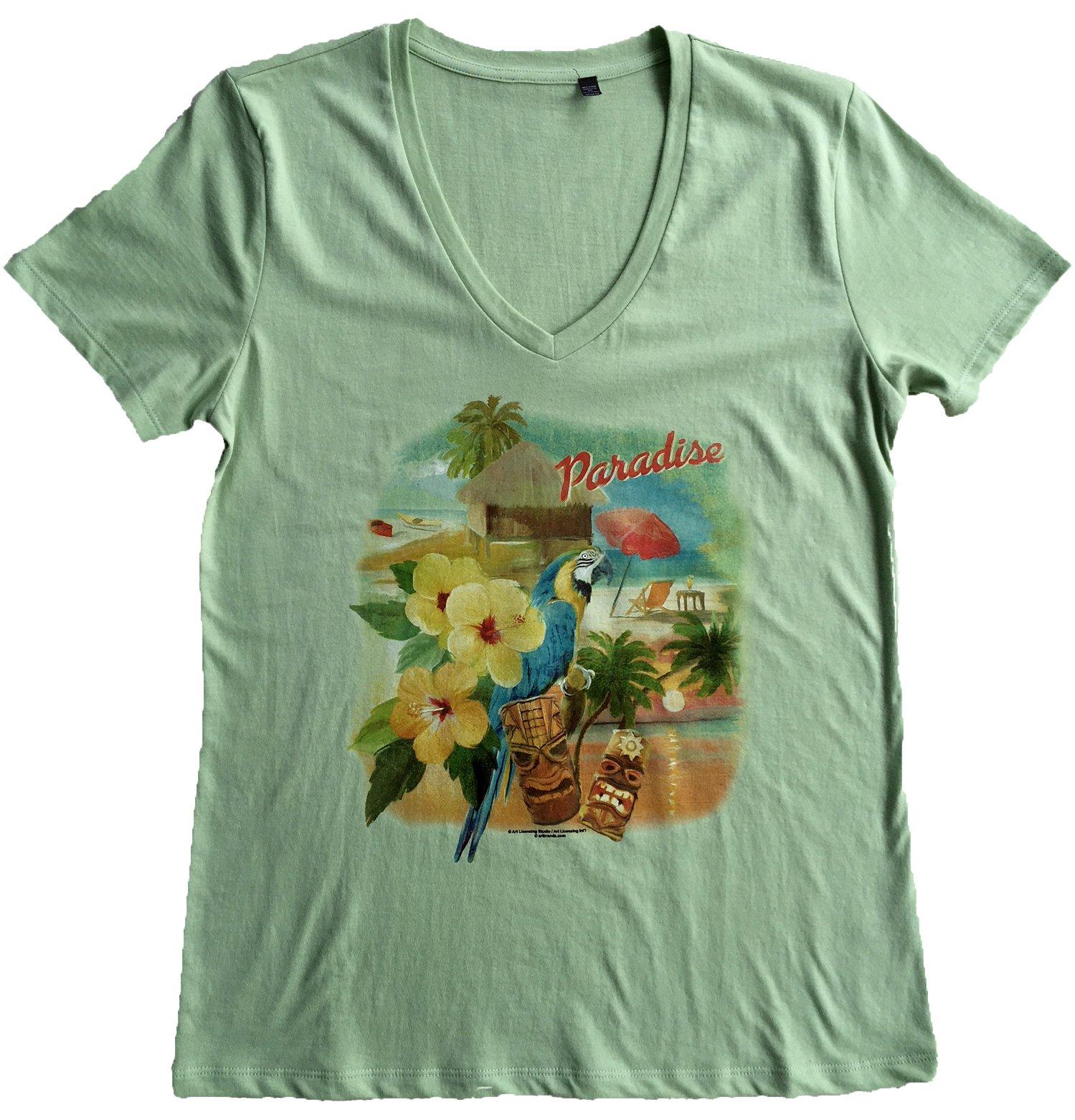 Women S Paradise Macaw Watercolor Parrot V Neck Beach T Shirt