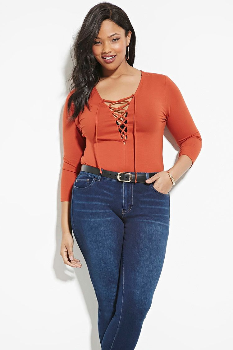 Plus Size Lace-Up Top   Forever 21 PLUS - 2000168907   Stylish ...