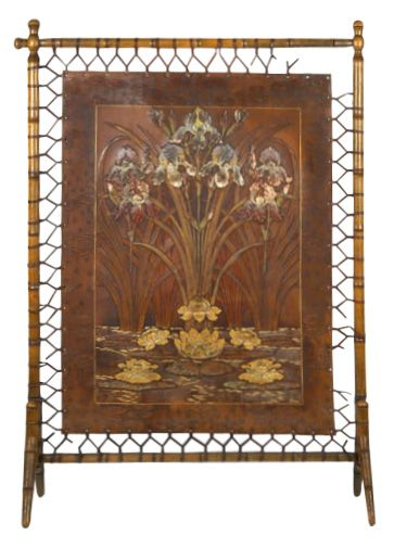 Art Nouveau Jugendstil Tooled Leather Screen SOLD: Au Fil de l'Eau Antiques