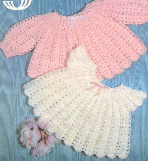 Crochet Baby Angel Tops Pattern Baby Dress Sweater Lace matinee ...