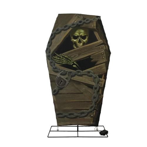 48 battery operated led lighted skeleton in coffin with timer halloween yard art decoration halloween yard art battery operated and skeletons