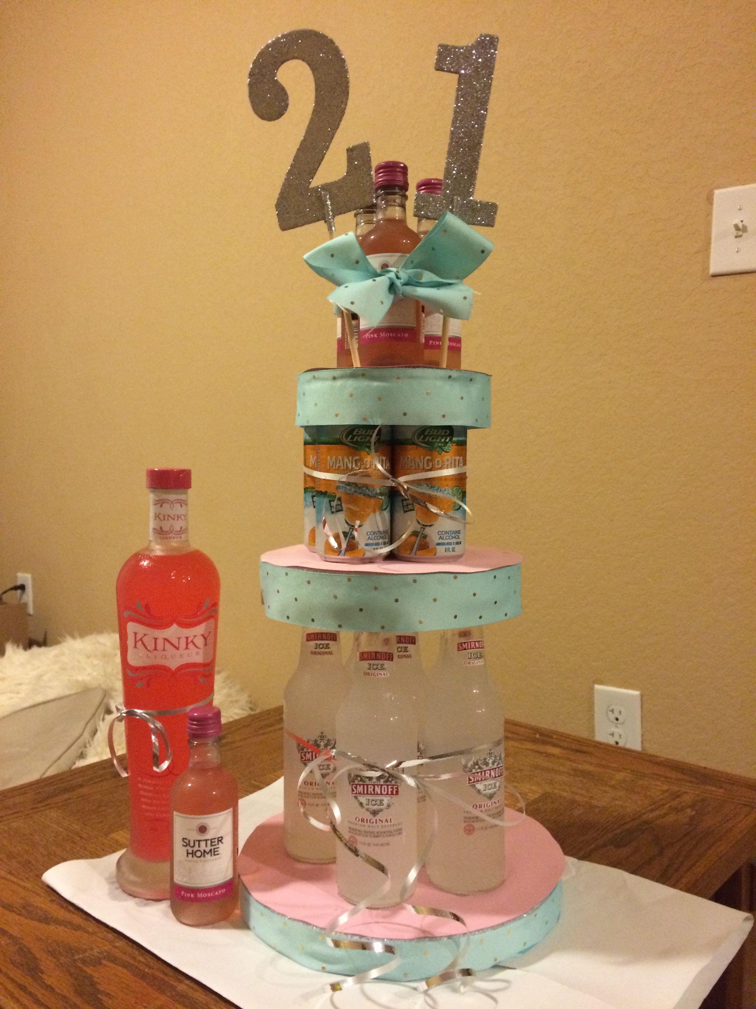 Astounding 21St Birthday Alcohol Tower Cake 21St Birthday Girl Personalised Birthday Cards Beptaeletsinfo