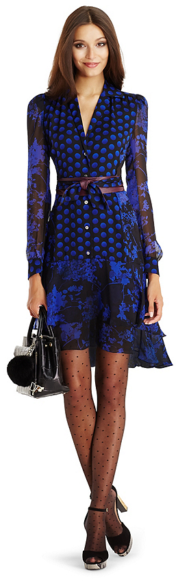 4c74ecad92a241 DVF Catherine Chiffon Shirt Dress