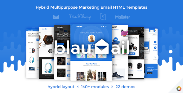 BlauMail Hybrid Multipurpose Marketing Emails Modules - Hybrid email template