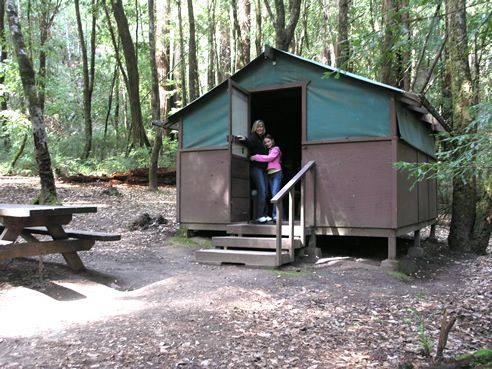 Discover The Big Basin Tent Cabin In The Majestic Redwoods. Each Tent Cabin  Is A Raised Wooden Platform With Wooden Sides And Mesh Vent Panels On Two  Sides.