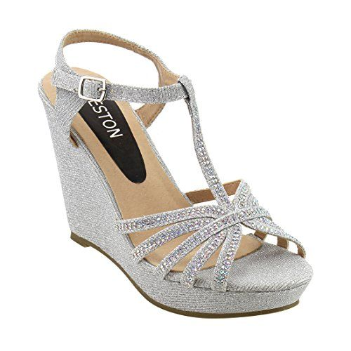 432e5b26dc8eb Beston ID68 Womens Glitter Tstrap Cage Platform Wedge Sandal Half Size  Smaller ColorSILVER Size9     See this great product. (This is an affiliate  link)