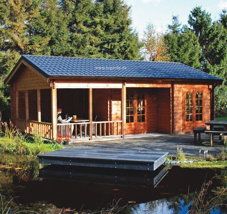 Blockhaus Hamm B47 mit Veranda von Lugarde. Hochwertiges Holz und ...