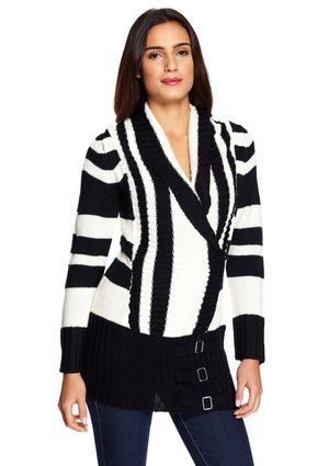 CAROL ROSE Long Sleeve Drape Neck Sweater with Buckle Detail
