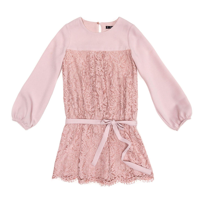 Jakioo udsalg børnetøj Rosa crepe og blonde kjole med langeærmer tilbud børnetøj