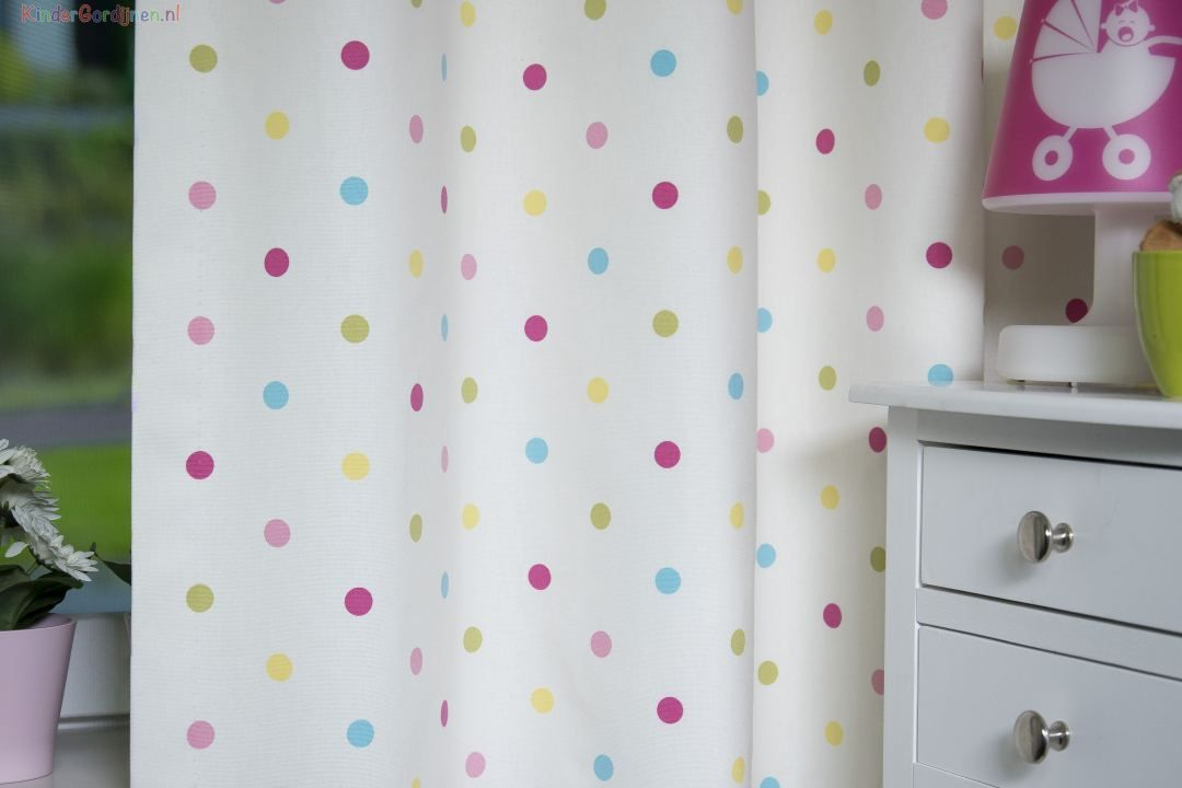 Wit / Multicolor Gordijn Coloured Dots   Eijff. 6250-3 Coloured Dots ...