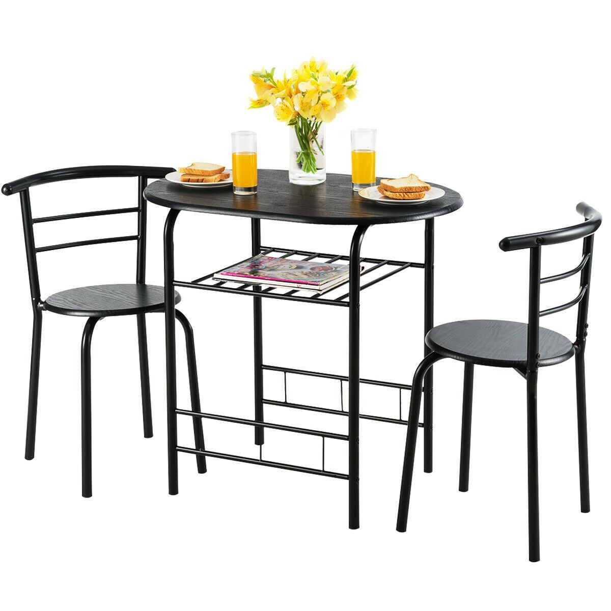 3 Pcs Home Kitchen Bistro Pub Dining Table 2 Chairs Set With Images Dining Table Setting 3 Piece Dining Set Home Kitchens