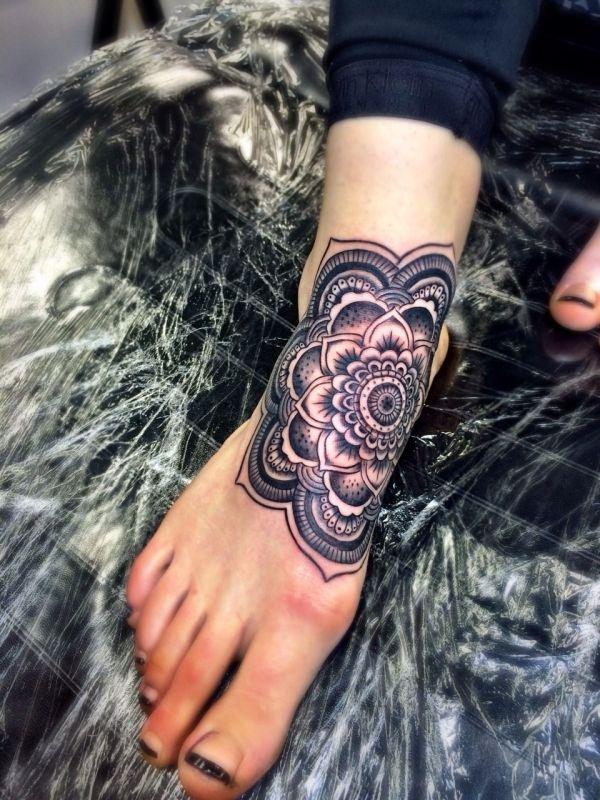 Christmas Mandala Tattoo Facebook Covers Google Search Foot Tattoos Mandala Foot Tattoo Cover Tattoo
