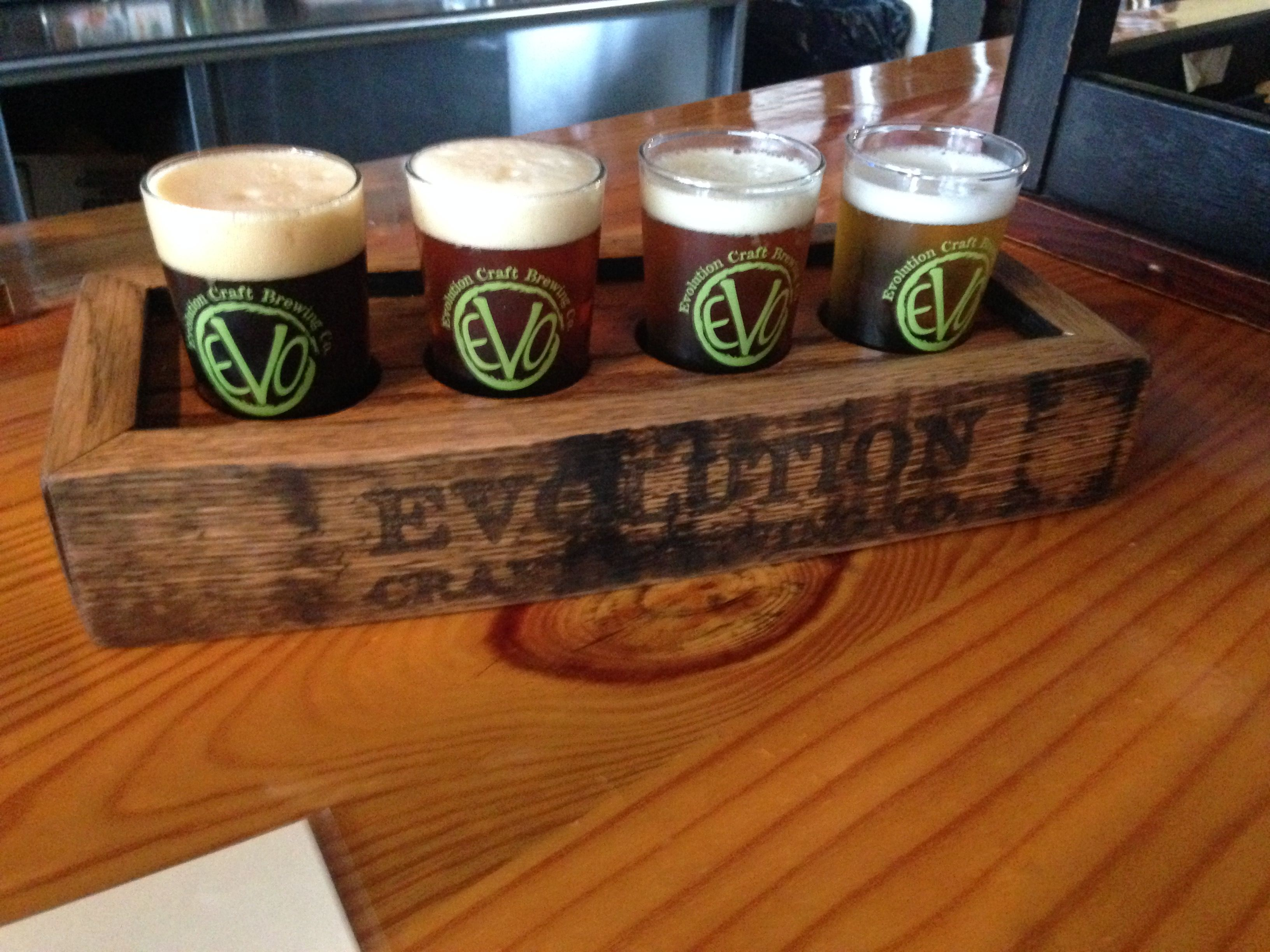 Beer flight holder made from whiskey barrel slats for ...