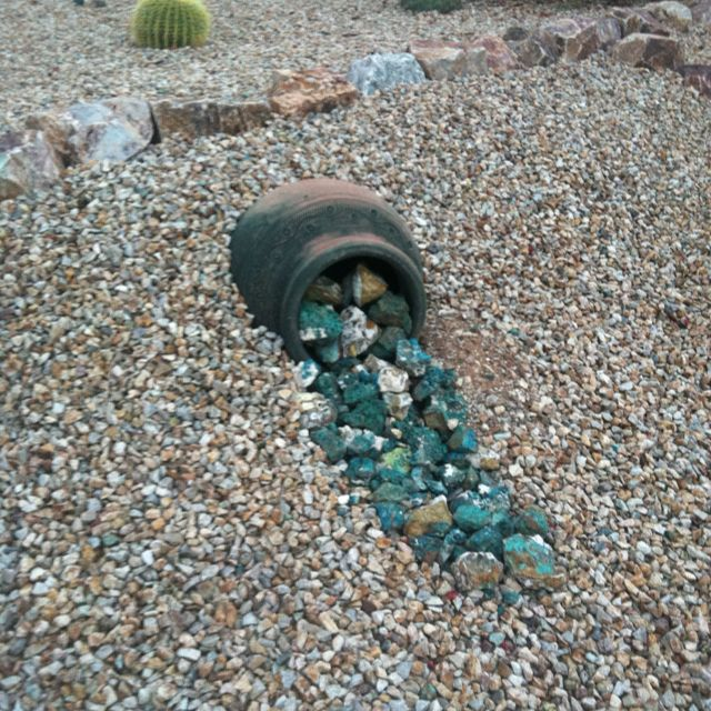 Rock Garden Front Yard Landscaping Ideas: I Liked The Way They Did The Pot And Simple Water Color