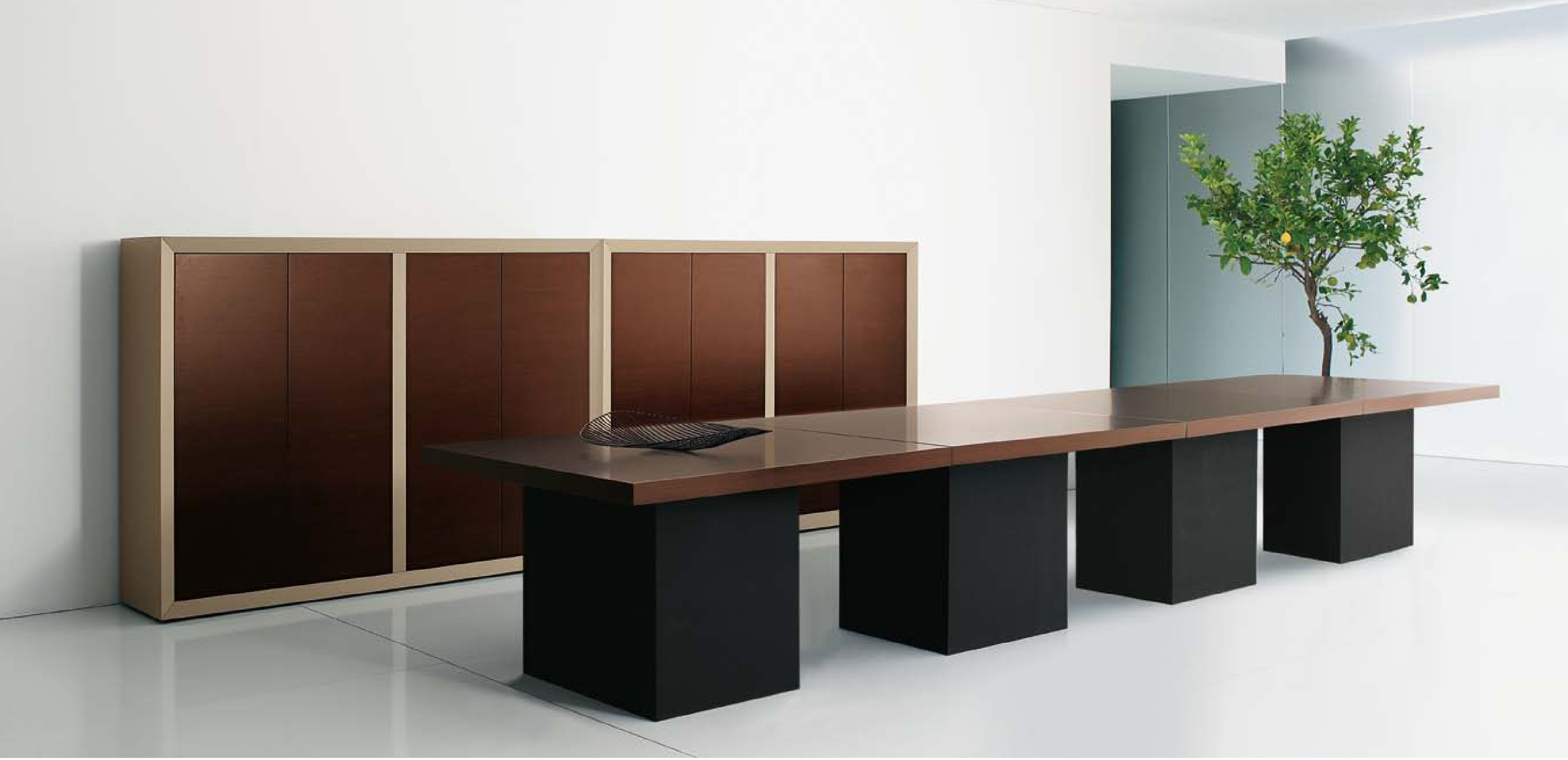 Simposio allows a strict interpretation of the office, without sacrificing simplicity and the representativeness of the decision making environment: a variety ranging from the simple desk to meeting rooms solutions, cabinets and bookcases, without losing the substance of the original project.