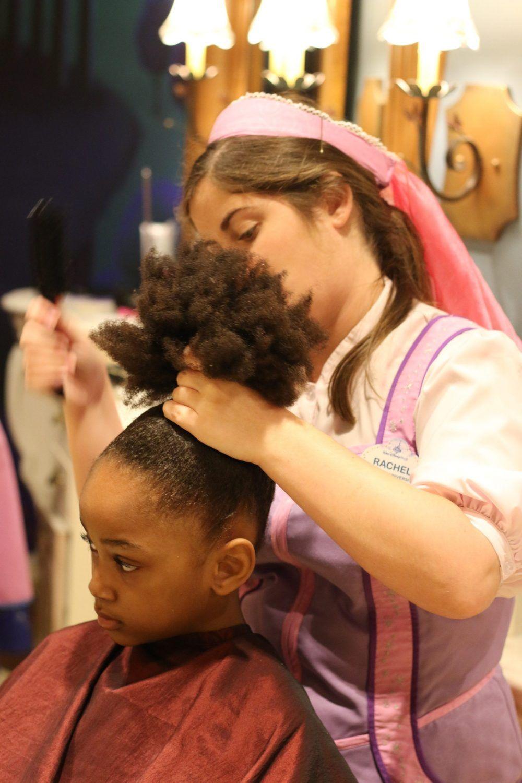 Our Disney Bibbidi Bobbidi Boutique Experience Rattles Heels Bibbidi Bobbidi Boutique African American Hairstyles Kids Hairstyles