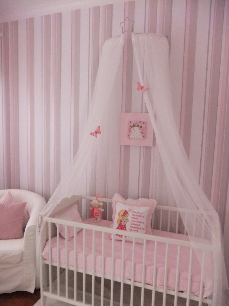 Make your nursery chic and soft with narrow vertical stripes and a subtle sheer canopy draped & Marianau0027s Princess Room | Canopy Crib and Nursery