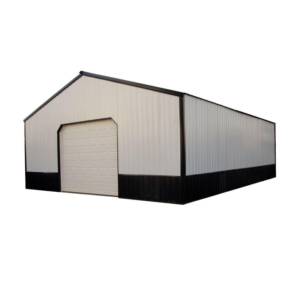 Anniston 24 Ft X 30 Ft X 9 Ft Wood Pole Barn Garage Kit Without Floor Hansen 2400 Series The Home Depot Barn Garage Wood Garage Kits Pole Barn Garage