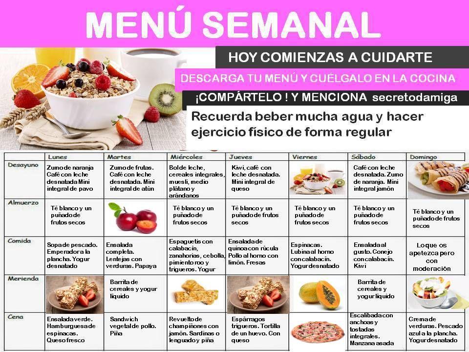 Dietas Para Adelgazar Menu Semanal Octubre 4 Secretodamiga Dietas Para Adelgazar Menu Para Bajar De Peso Comida Para Diabeticos Recetas