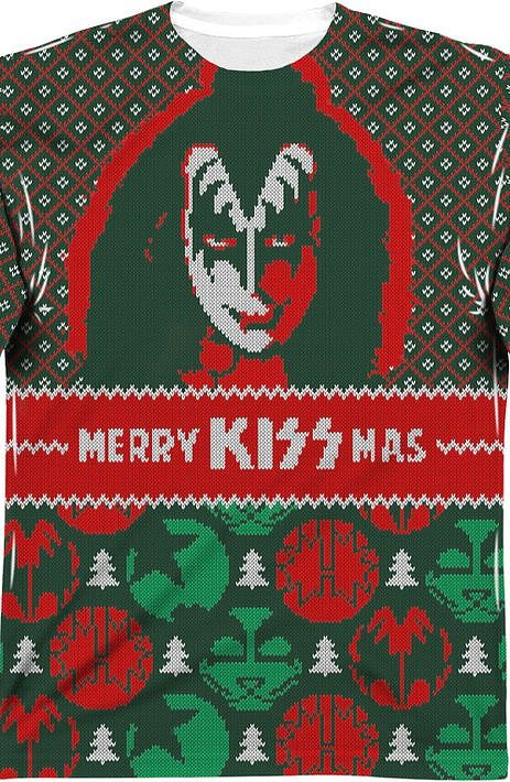 kiss sublimated ugly faux christmas sweater long sleeve tee - Band Christmas Sweaters